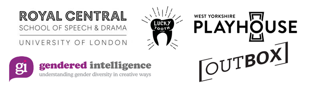 Project Logos: RCSSD, Gendered Intelligence, Lucky Tooth, West Yorkshire Playhouse, Outbox